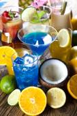 Various cocktails with fruits — Stock Photo