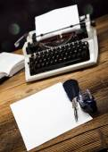 Retro typewriter with old paper — Photo