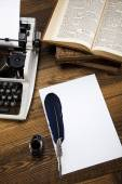 Retro typewriter with old paper — Stock Photo