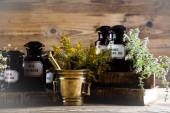 Medical bottles, herbs with mortar — Stock Photo