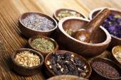 Medical herbs and mortar — Stock Photo