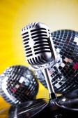 Microphone with disco balls — ストック写真