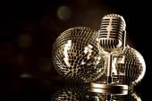Microfono con le palle discoteca — Foto Stock