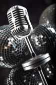 Microphone with disco balls — Stockfoto