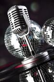 Microphone, Disco balls — Stock Photo