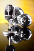 Microphone with disco balls — Photo