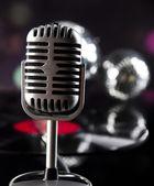 Microphone, vinyl record and Disco Balls — Stock Photo