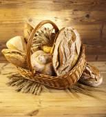 Traditional bread in wicker bucket — Stock Photo