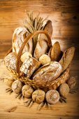 Baked breads in basket — Foto de Stock