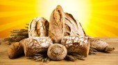 Composition with loafs of bread — Stock Photo