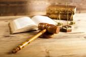 Gavel, Law book and mallet of judge — Stock Photo