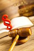 Livro de direito com martelo de juiz — Foto Stock