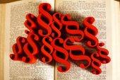Libro de ley con los párrafos — Foto de Stock