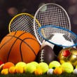 Sport balls with rackets — Stock Photo #52109891