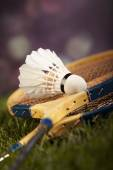 Shuttlecock with badminton rackets — Stock Photo