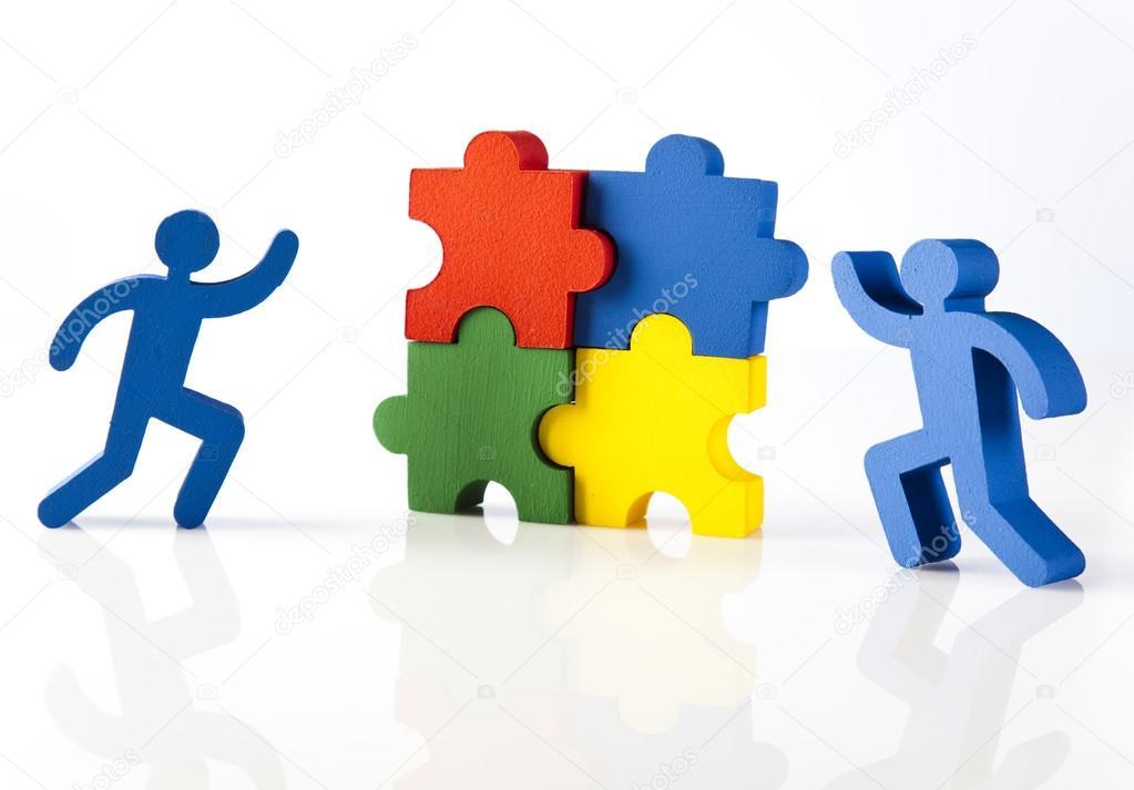 Figuras Con Piezas De Rompecabezas De Colores