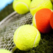 Постер, плакат: Tennis racket and balls