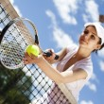 Woman holding tennis ball — Stock Photo #52115785