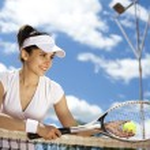 Woman holding tennis ball — Stock Photo #52117171