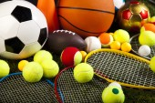 Sports balls with equipment — Stock Photo