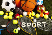 Sport equipment and balls — Stock Photo