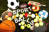Sports balls and equipment — Stock Photo