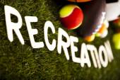 Recreation word with sports equipment — Foto Stock