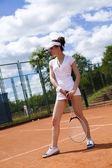 Tennista pronto per un serv — Foto Stock