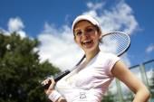Girl playing tennis — Stock Photo