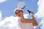Tennis player ready for a serve — Foto Stock