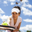 Постер, плакат: Tennis player with racket