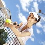 Woman holding tennis ball — Stock Photo #52121947