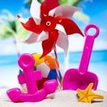 Plastic toys on beach — Stock Photo #52123469