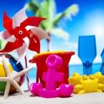 Plastic toys on beach — Stock Photo #52124071