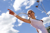 Girl pointing on court — Stock Photo