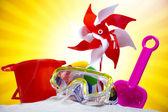 Children toys and flip flops — Stock Photo
