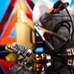 Set of auto parts, car battery — Stock Photo #57340473