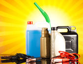 Canisters, Liquids for car — Stock Photo
