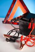 Car battery with jumper cables — Stock Photo