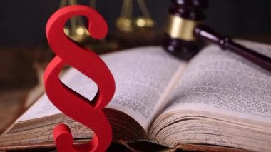 Mallet of judge, legal code and scales — Stock Video