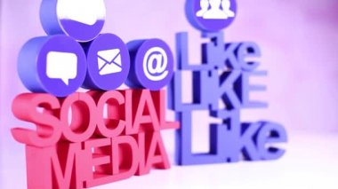 Social media icons set — Stock Video