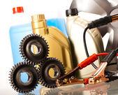 Set of auto parts, car battery — Stock Photo