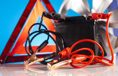 Car battery with two jumper cables — Stock Photo