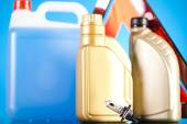Canisters and Liquids for car — Stock Photo