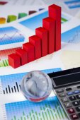 Business concept with financial symbols — Stock Photo