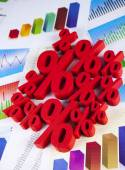 Finance concept, group of percentage signs — Stock Photo