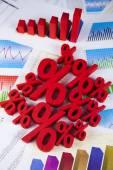 Percent signs with financial graph — Fotografia Stock