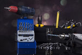 Still life with constructor tools — Stock Photo