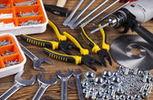 Working tools on wooden background — Stock Photo