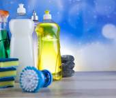 Group of assorted cleaning for home work — Stock Photo